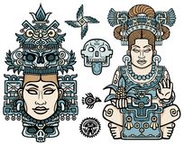 Reeks grafische die elementen op motieven van kunst Inheemse Indiaan worden gebaseerd Vrouw, moeder, godin, koningin, esoterisch  vector illustratie