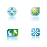 Reeks grafische symbolen op abstract thema Stock Foto's