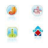 Reeks grafische symbolen op architectuurthema Stock Afbeeldingen