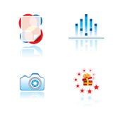 Reeks grafische symbolen op vermaakthema Stock Foto