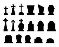 Reeks grafstenen met verschillende vormen Stock Foto's