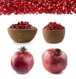 Reeks granaatappels Granaatappel op witte achtergrond wordt geïsoleerd die Zoete en sappige granaat met exemplaarruimte voor teks stock afbeeldingen