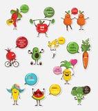 Reeks grappig fruit en plantaardige pictogrammen Het voedselemoji van het beeldverhaalgezicht fuuny voedselconcept royalty-vrije illustratie