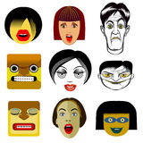 Reeks grappige avatar portretten Stock Foto