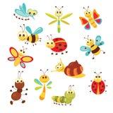 Reeks grappige insecten Royalty-vrije Stock Afbeelding