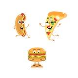Reeks grappige karakters van snel voedsel royalty-vrije illustratie