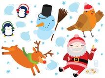 Reeks Grappige Kerstmiskarakters Stock Foto's
