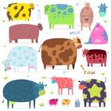 Reeks grappige koeien royalty-vrije illustratie