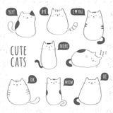Reeks grappige leuke katten Royalty-vrije Stock Afbeeldingen