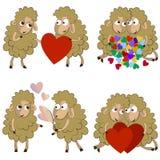 Reeks grappige paren van sheeps voor Valentine Stock Afbeelding