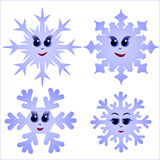 Reeks grappige sneeuwvlokken Royalty-vrije Stock Fotografie