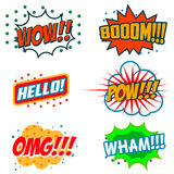 Reeks grappige stijluitdrukkingen Boom, wauw, OMG vector illustratie
