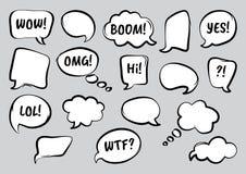 Reeks grappige toespraakbellen, getrokken hand Vector illustratie vector illustratie