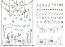 Reeks grenzen, slingers, kruiken, flessen, bloemen, vlaggen, lampen royalty-vrije illustratie