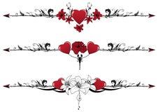 Reeks grenzen van de Valentijnskaart Royalty-vrije Stock Afbeeldingen