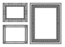 Reeks 3 grijs die kader op witte weg wordt geïsoleerd als achtergrond en het knippen Stock Foto