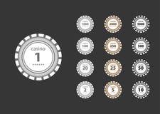 Reeks grijze en bruine en zwarte casinospaanders Stock Afbeelding