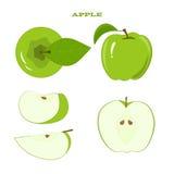 Reeks Groen Apple en Sappige Apple-Plakken Royalty-vrije Stock Foto
