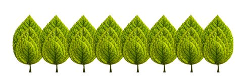 Reeks groene bladeren stock illustratie