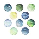 Reeks groene, blauwe en gele die stenen op wit worden geïsoleerd Royalty-vrije Stock Foto