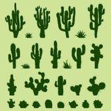 Reeks groene cactussen Royalty-vrije Stock Fotografie