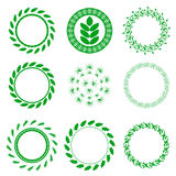 Reeks Groene Cirkel Bloemenkaders Royalty-vrije Stock Afbeelding