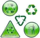 Reeks groene gerecycleerde tekens Stock Afbeeldingen
