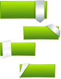 Reeks groene glanzende etiketten Stock Foto