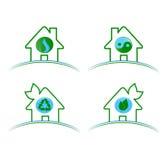 Reeks groene milieupictogrammen isolat Stock Afbeeldingen