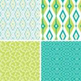 Reeks groene naadloze patronen van de ikatdiamant Royalty-vrije Stock Foto