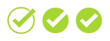 Reeks groene tikpictogrammen Vector geplaatste die symbolen, controletekensinzameling op witte achtergrond wordt geïsoleerd Gecon stock fotografie