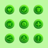 Reeks groene vectorelementen voor Ui-Spel stock illustratie
