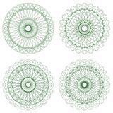 Reeks groene vectorguilloche rozetten Stock Fotografie