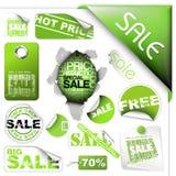 Reeks groene verkoopkaartjes en etiketten Royalty-vrije Stock Afbeelding