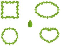 Reeks groene verschillende die vormen van bladerenkaders op wit worden geïsoleerd Stock Foto