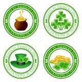 Reeks groene zegels met vier bladklaver Royalty-vrije Stock Fotografie