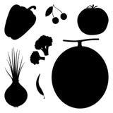Reeks groenten en vruchten Stock Fotografie