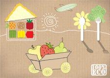 Reeks groenten en vruchten Vector illustratie Stock Foto