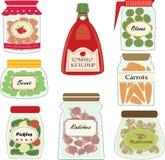 Reeks groenten in het zuurkruiken Royalty-vrije Stock Foto's
