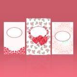 Reeks groetkaarten voor St Valentine Dag met harten en rozenachtergrond Royalty-vrije Stock Afbeelding