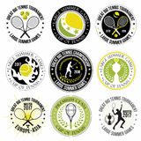 Reeks grote tennisemblemen, etiketten en kentekens Stock Afbeelding
