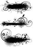 Reeks grunge bloemenontwerpen Stock Afbeeldingen