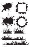 Reeks grunge kaders, grenzen met geschaafde, vectorelementen Stock Foto's