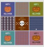 Reeks Halloween-de kaarten van de vakantiegroet en griezelige patronen Stock Fotografie