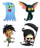 Reeks Halloween-karakters Vectorbeeldverhaalzombie, knuppel, doods onverbiddelijke maaimachine, spook vector illustratie