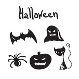 Reeks Halloween-karakters voor desigen Stock Fotografie