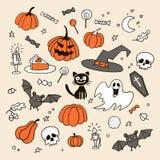 Reeks Halloween-krabbels stock foto