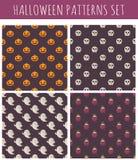 Reeks Halloween naadloze patronen Stock Afbeeldingen