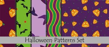 Reeks Halloween-patronen Inzameling van de naadloze patronen van Halloween Stock Fotografie