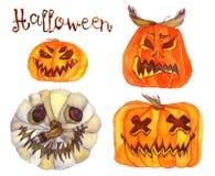 Reeks Halloween pompoenen Stock Afbeeldingen